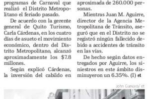 Los encargados de Turismo, Cultura y Tránsito del Distrito Metropolitano presentaron los resultados de los programas de Carnaval